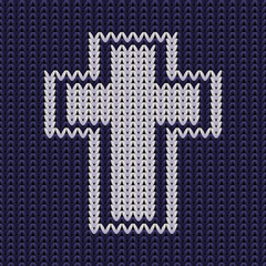 Knitted texture with christian cross, vector illustration