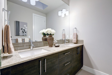 Gray and clean bathroom design in brand new home