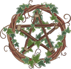 Vine wreath entwined with ivy and pentagram