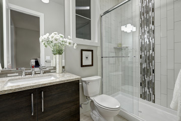 Glass walk-in shower in a bathroom of luxury home