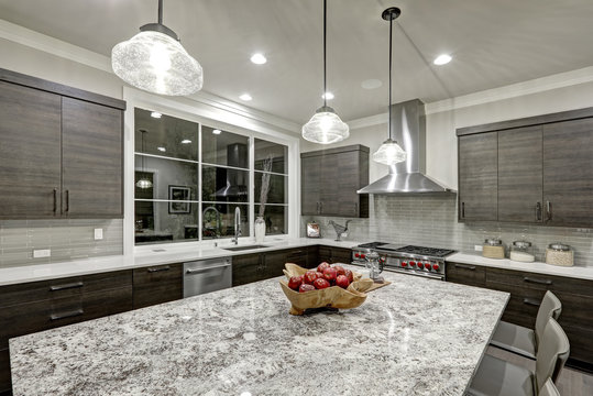 Modern traditional kitchen design in new luxury home