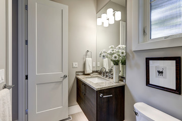 Light gray bathroom interior in luxury home