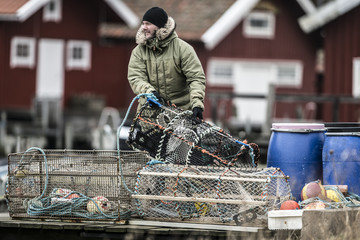 Man holding lobster trap