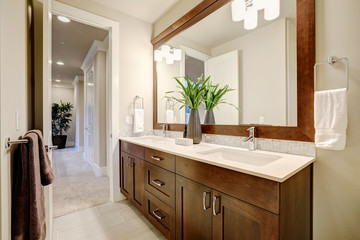White and clean bathroom design in brand-new home