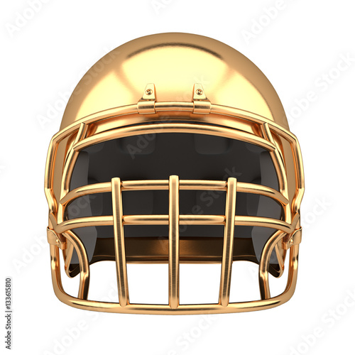 Football Helmet Front View : Quot golden american football helmet illustration front view