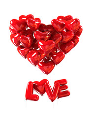 LOVE with pile od red heart Ballons making Big Heart poster. 3d rendering isolated on white background
