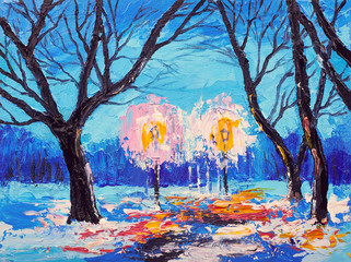 Abstract oil painting. Art brushstrokes watercolor. Modern and contemporary artwork. winter forest in the evening