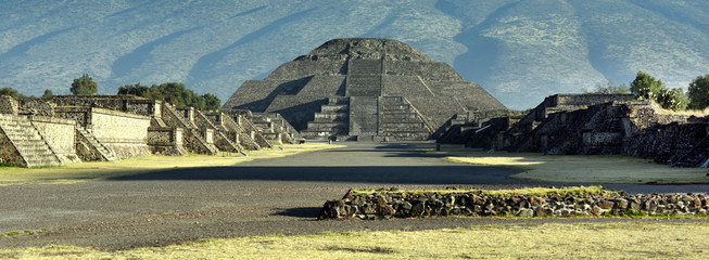 panoramic view to Pyramid of the Moon and Avenida of the Dead at Teotihuacan, Mexico
