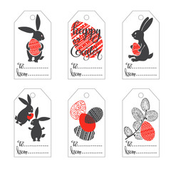 Easter tags. Hand-drawn vector festive set.
