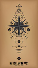 mandala compass tattoo vector design