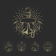 Anchor maritime sailor tattoo set or vintage nautical logo collection