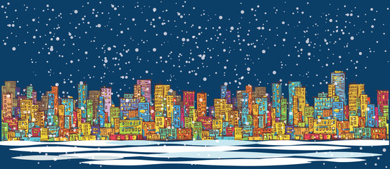 City skyline panorama, winter snow landscape at night, hand drawn cityscape, vector drawing architecture illustration