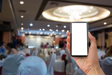 smart phone take photo  width wedding background