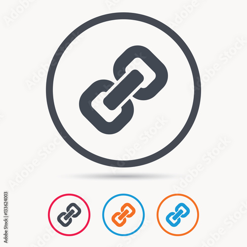 """""""Chain icon. Internet web hyperlink symbol. Colored circle ..."""