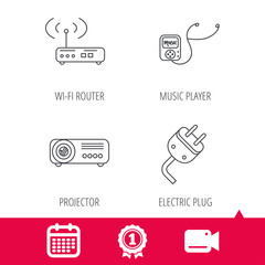 Achievement and video cam signs. Electric plug, wi-fi router and projector icons. Music player linear sign. Calendar icon. Vector