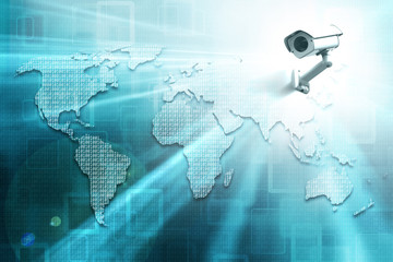World map formed by binary numbers and security camera. 3D illustration.