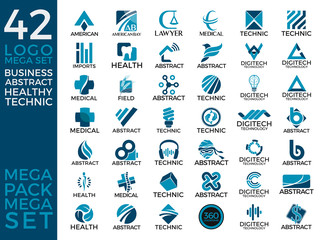 Mega Set and Big Group, Business Logo, Creative, Healthy, Technic and Abstract Logo Tempalate Design Eps 10
