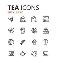 Tea Icons Set on White Background. Vector