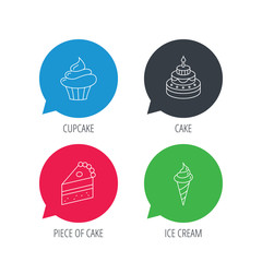 Colored speech bubbles. Cake, cupcake and ice cream icons. Piece of cake linear sign. Flat web buttons with linear icons. Vector