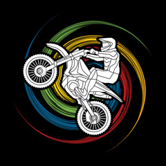 Motorcycle cross jumping designed on spin wheel background graphic vector