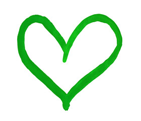 The outline of the green heart drawn with paint on white background