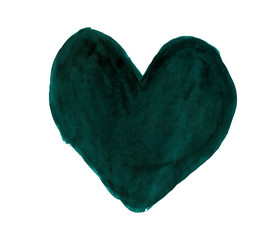 Dark pine green heart painted with gouache