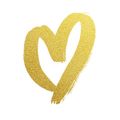 Gold heart hand drawn vector icon