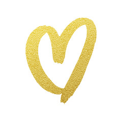 Heart gold glitter vector hand drawn icon