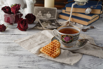Family memories with cup of tea