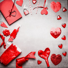 Red Valentines day background with various greeting decoration: heats, balloons, ribbon, lock and key and diary book, top view, frame, place for text