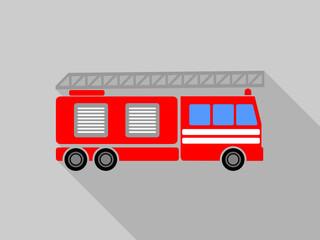 Flat design cartoon fire truck vector icon.