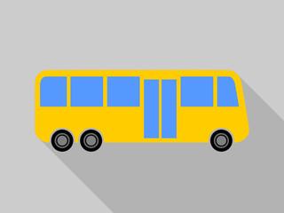 Flat design cartoon bus vector icon.