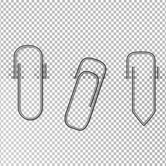 Metal paper clips and attached to paper isolated on transparent background