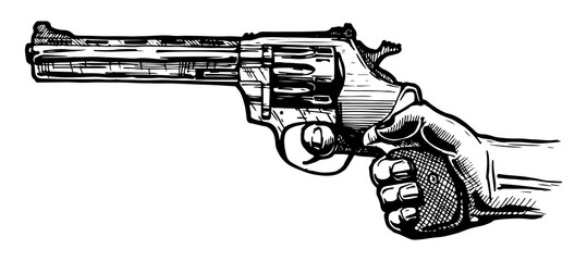 Men hand with revolver pistol