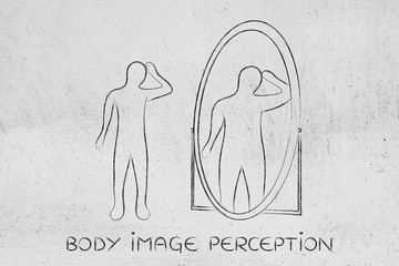 thin person looking in the mirror and seeing himself as overweig