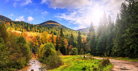 autumn  landscape. mountain river with perfect sky on the background in the sunlight. artistic creative image. soft light effect
