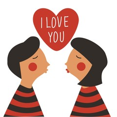 Cute Valentine's day card in cartoon style. Vector.