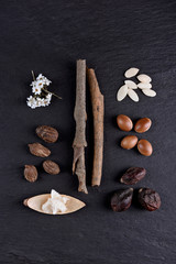 Composition of shea butter and nuts, argan fruits and seed