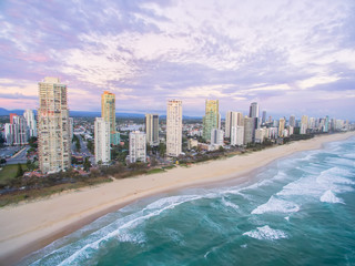 An aerial view of Surfers Paradise in Queensland, Australia