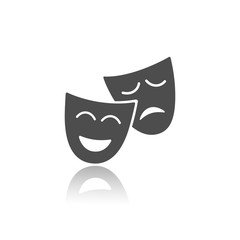 Masks icon with reflection on white background