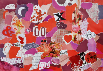 Creative Atmosphere art mood board collage sheet in color idea red, pink and purple white made of teared magazines and printed matter paper with flowers and textures