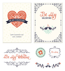 Typographic Valentine's greeting cards with ornate heart shape, birds, banner, swirl frames, sticker and decorative branches. Vector illustration.