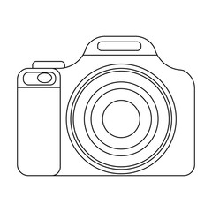 Digital camera icon in outline style isolated on white background. Rest and travel symbol stock vector illustration.