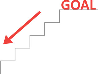 Vector stairs with red goal and arrow down