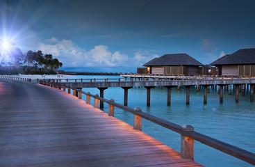 Island in ocean, Maldives. Night.