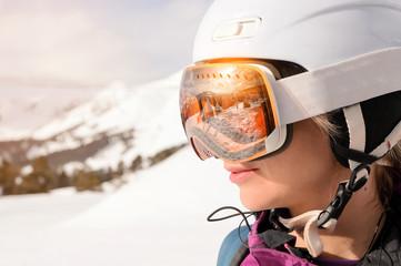 Snowboarder girl at Arhiz, Caucasian mountain.