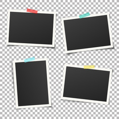 Wall Mural - Set of vintage photo frame with adhesive tape. Vintage style.  Vector illustration with adhesive tapes. Photorealistic Vector EPS10 Mockups. Retro Photo Frame Template for your photos.