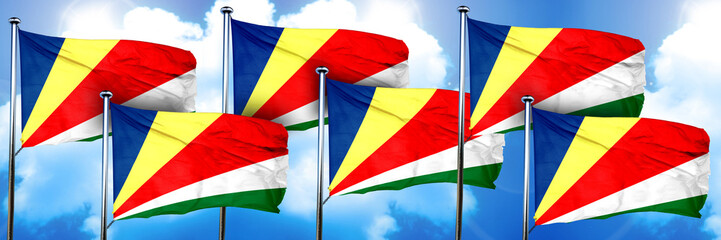 seychelles flags, 3D rendering, on a cloud background