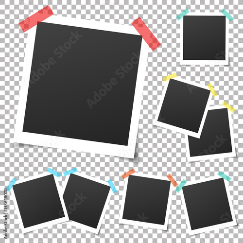collection of vintage vector template photo frames with adhesive