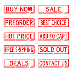 Set of red commerce square stamp for online shopping business